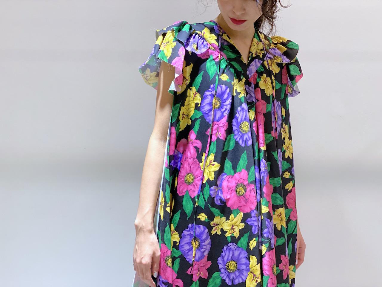 BALENCIAGA フローラルノースリーブドレス【20SS】