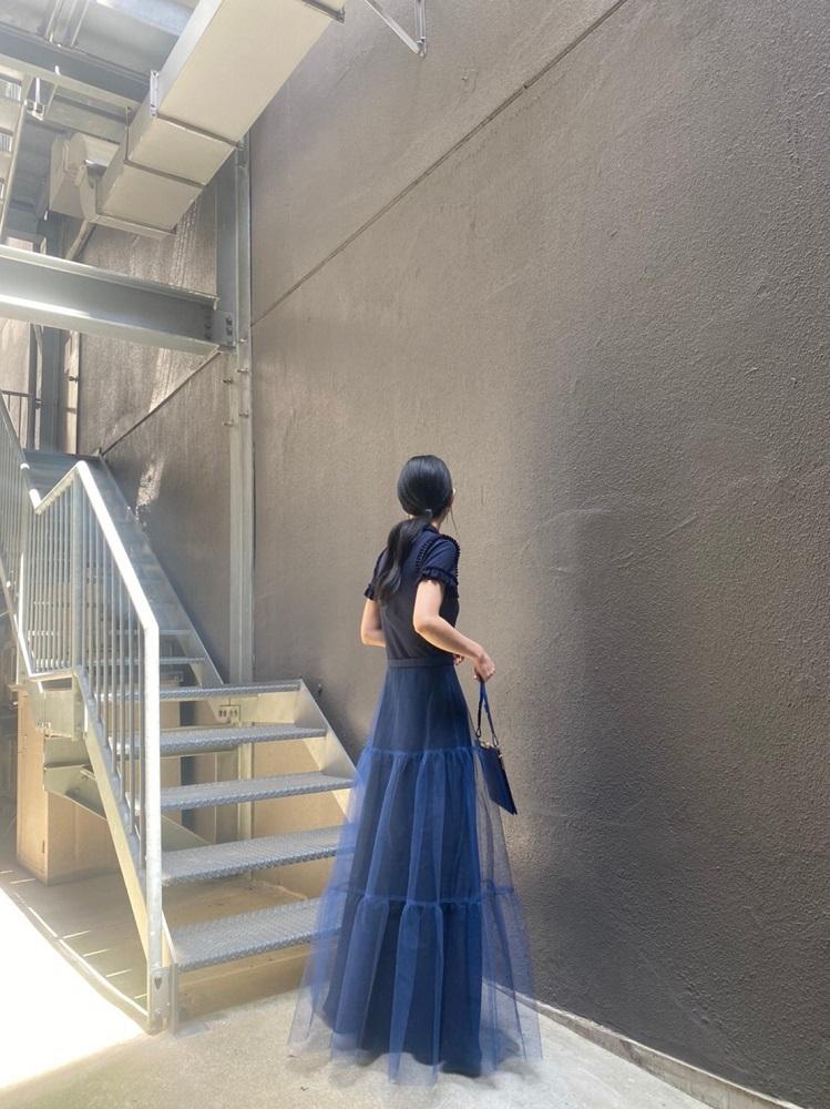 rokh 【40%OFF】チュールレイヤードロングドレス