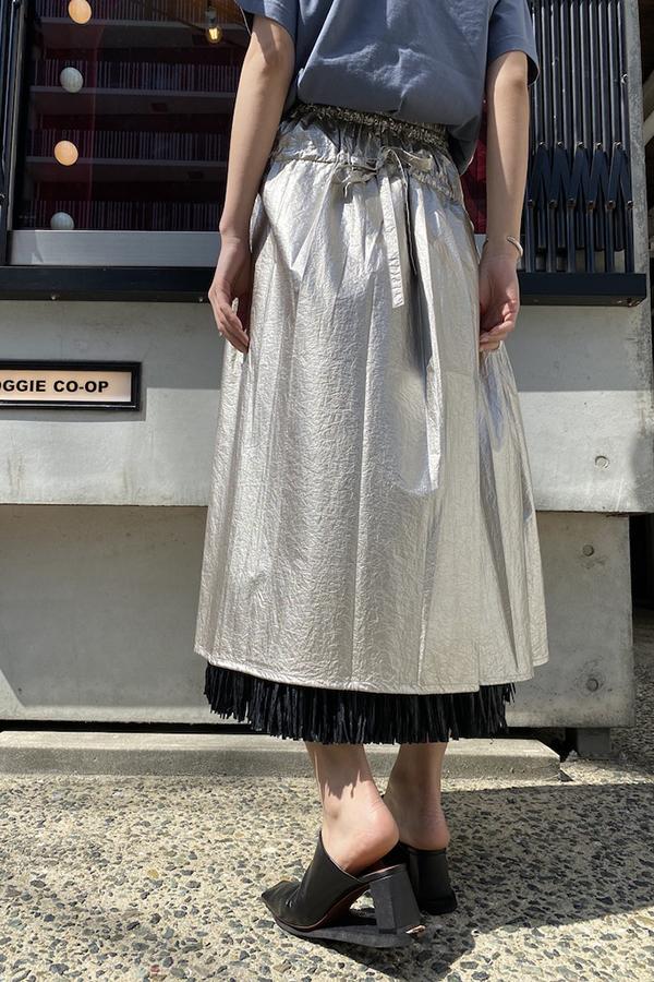SARA LANZI メタリックギャザースカート【20SS】