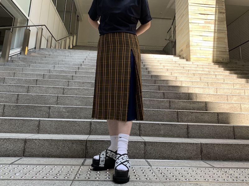 lot lamb 【40%OFF】チェック配色タックスカート
