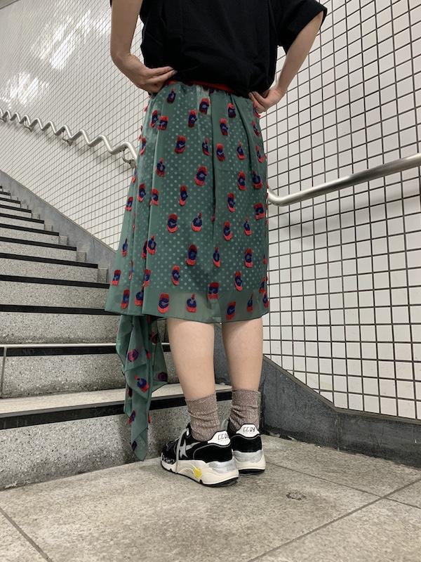 kolor 【40%OFF】総柄アシンメトリースカート