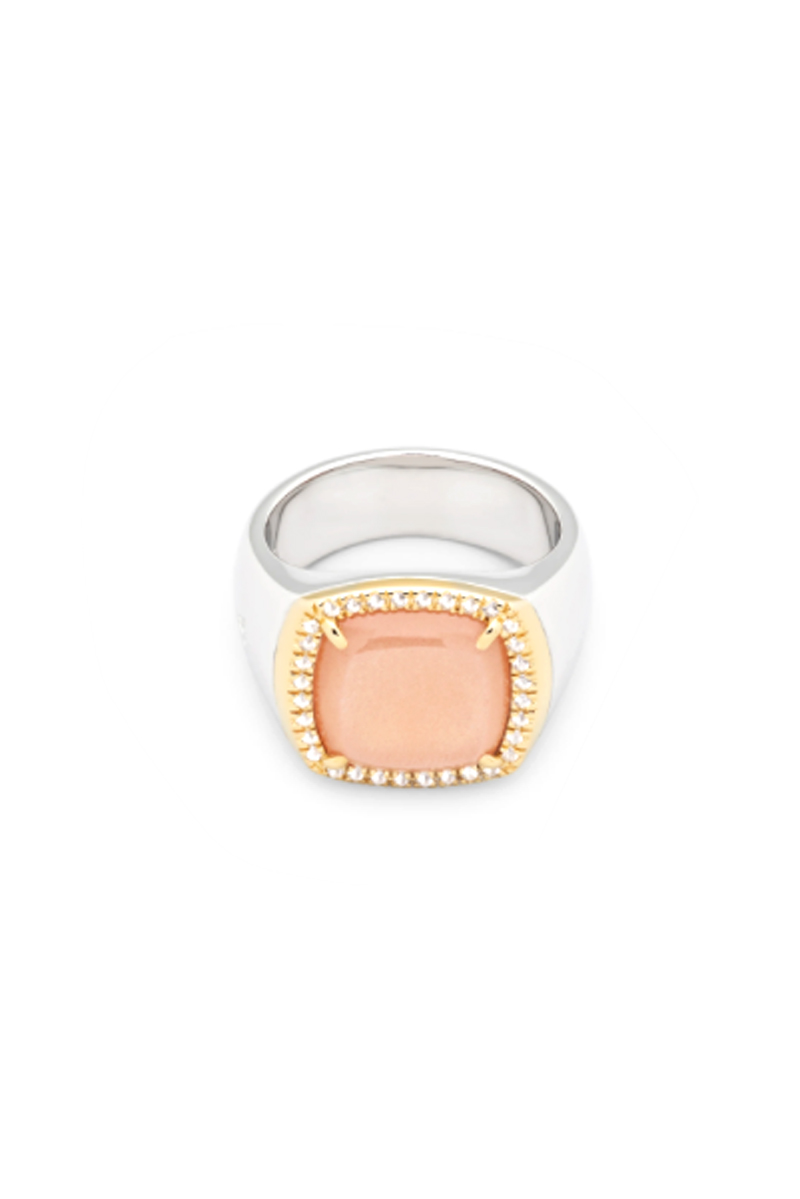 TOM WOOD May Ring Peach Moonsrone Diamond