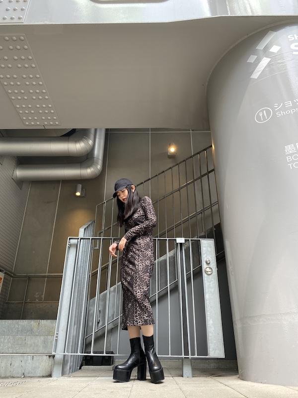 JOHN LAWRENCE SULLIVAN レオパードハイネックドレス【20AW】