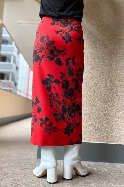 BALENCIAGA 花柄スリットスカート  [20AW]