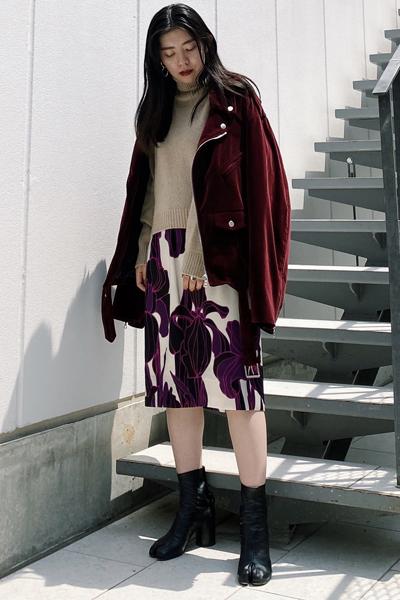 DRIES VAN NOTEN 総柄ミディスカート【20AW】