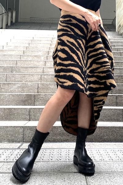 MM6 MAISON MARGIELA ゼブラニットスカート  [20AW]