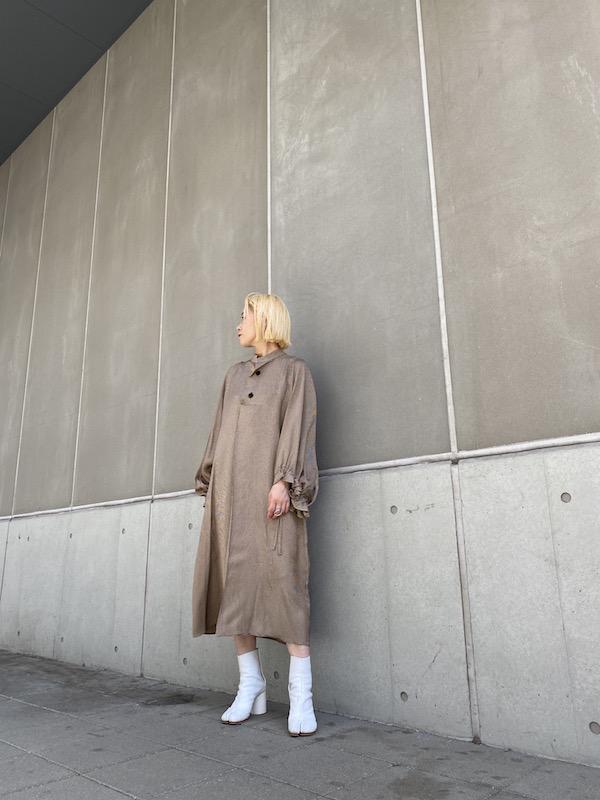 HACHE 【40%OFF】千鳥柄ギャザースリーブワンピース