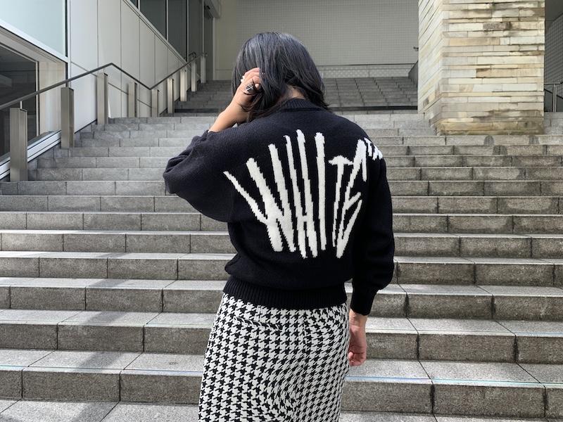 OFF-WHITE グラフィティクルーネックニット【20AW】
