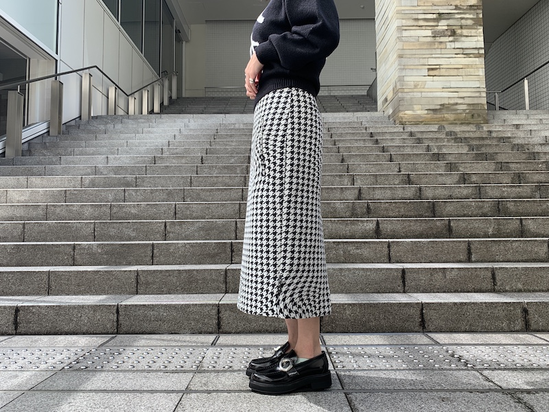 OFF-WHITE 千鳥柄ペンシルスカート【20AW】