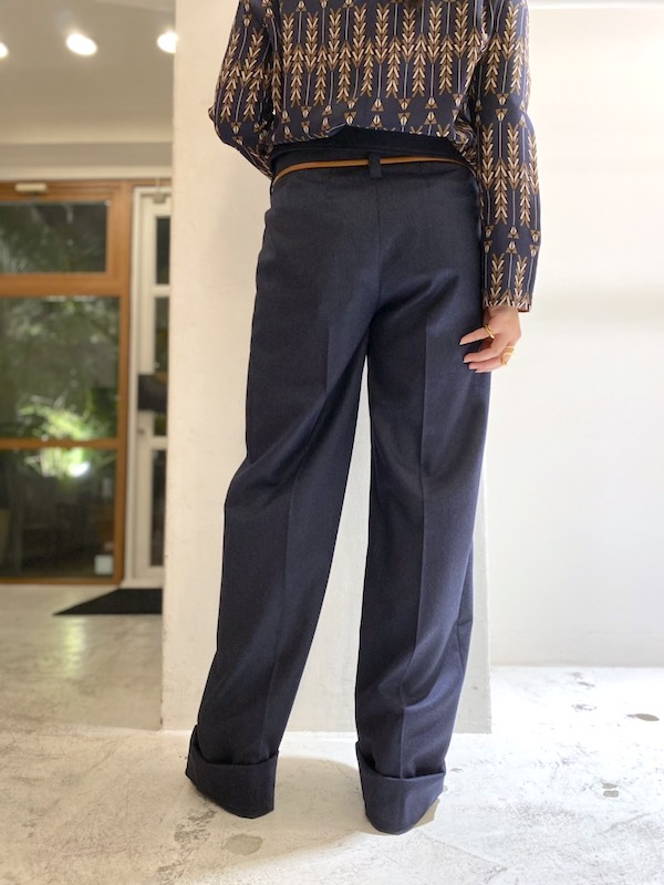 STELLA McCARTNEY ベルト付タックパンツ【21SS】