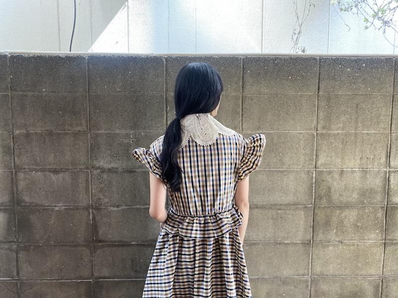 rokh チェックラッフルドレス【21SS】