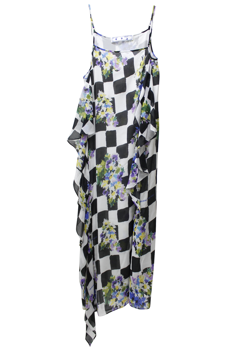 OFF-WHITE チェックフラワースリップドレス【21SS】
