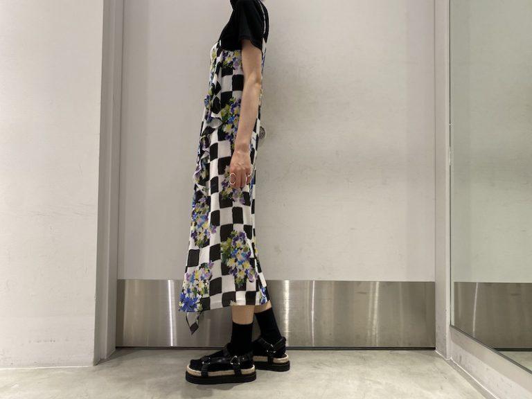 OFF-WHITE チェックフラワースリップドレス