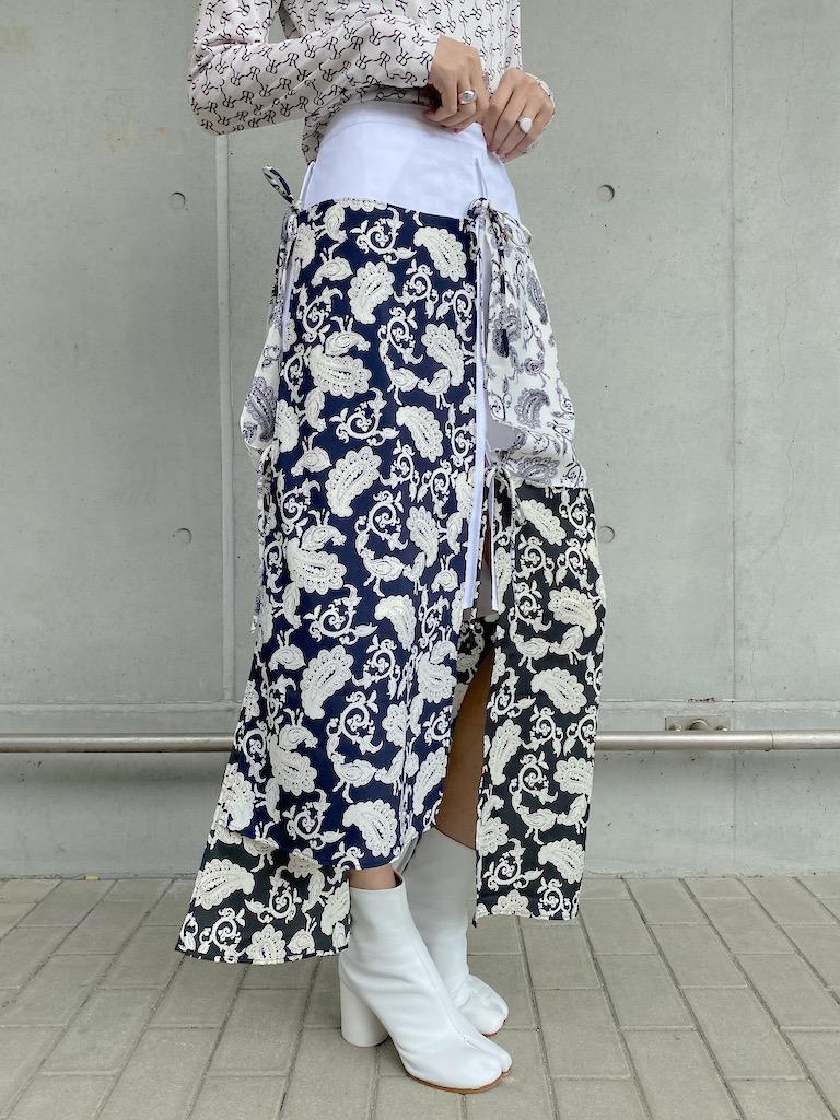 rokh スカーフレイヤードスカート