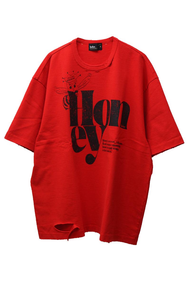 kolor ダメージ加工プリントTシャツ(MEN)【21AW】