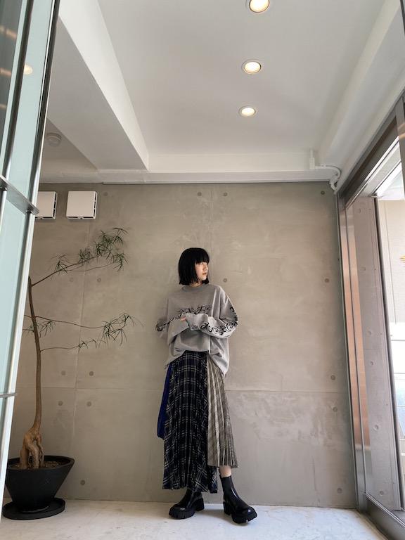rokh アシンメトリープリーツスカート【21AW】