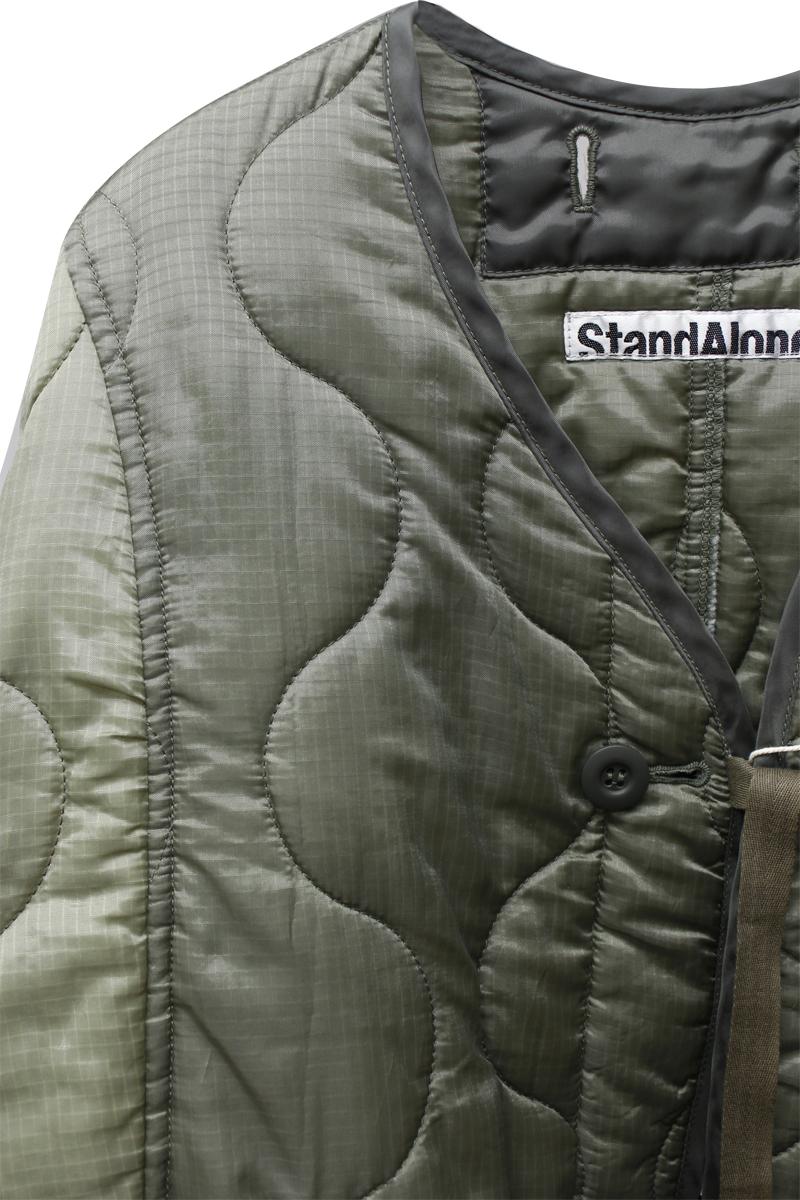 STAND ALONE ノーカラーキルティングジャンパー【21AW】