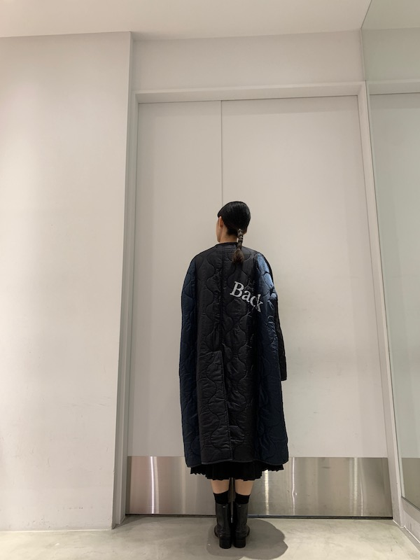 STAND ALONE ノーカラーキルティングコート【21AW】